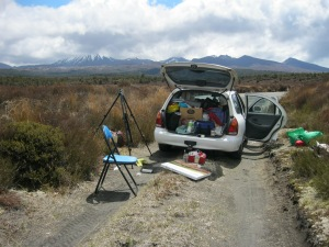 I've stopped in the Desert Road, in the North Island of New Zealand to Paint Mt Ruapehu and the uplifted plateau. A week later, nearby Mt Tongariro erupted! (November 2012)