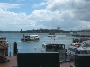 The Auckland waterfront buzzing with boats of various kinds