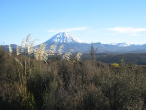 Mt Ngaruahoe, sister mountain, another live volcano next to Ruapehu. Pronounced Na-rua-ho-ee.