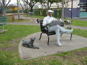 The public sculpture in central  Katikati is Barry with his dog
