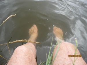 Toe wiggle time in the river.