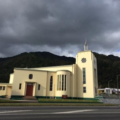 Catholic church fronting Mt Te Aroha
